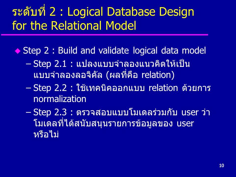10 ระดับที่ 2 : Logical Database Design for the Relational Model u Step 2 : Build and validate logical data model –Step 2.1 : แปลงแบบจำลองแนวคิดให้เป็
