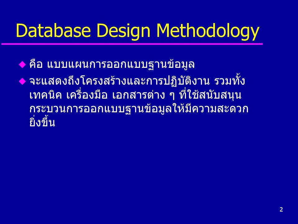 2 Database Design Methodology u คือ แบบแผนการออกแบบฐานข้อมูล u จะแสดงถึงโครงสร้างและการปฏิบัติงาน รวมทั้ง เทคนิค เครื่องมือ เอกสารต่าง ๆ ที่ใช้สนับสนุ