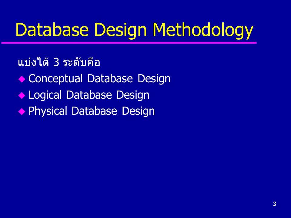 3 Database Design Methodology แบ่งได้ 3 ระดับคือ u Conceptual Database Design u Logical Database Design u Physical Database Design