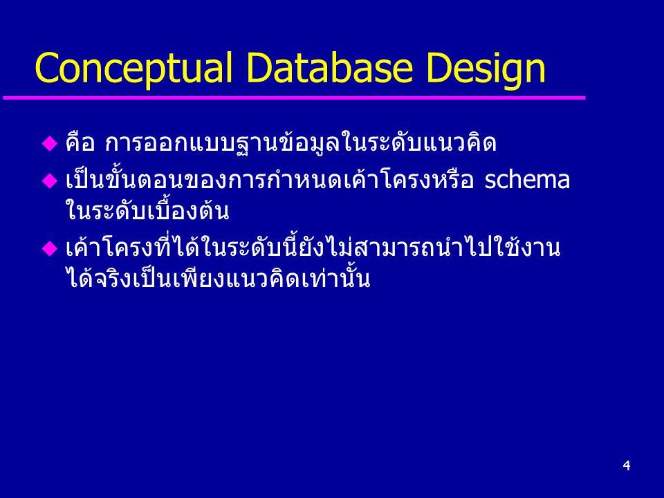 4 Conceptual Database Design u คือ การออกแบบฐานข้อมูลในระดับแนวคิด u เป็นขั้นตอนของการกำหนดเค้าโครงหรือ schema ในระดับเบื้องต้น u เค้าโครงที่ได้ในระดั