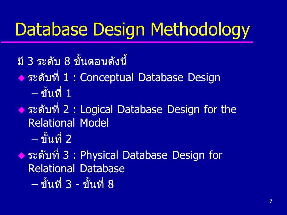 7 Database Design Methodology มี 3 ระดับ 8 ขั้นตอนดังนี้ u ระดับที่ 1 : Conceptual Database Design –ขั้นที่ 1 u ระดับที่ 2 : Logical Database Design f