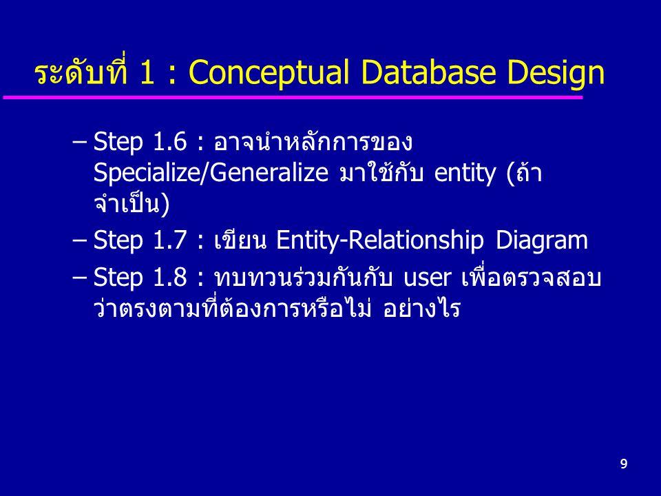 9 ระดับที่ 1 : Conceptual Database Design –Step 1.6 : อาจนำหลักการของ Specialize/Generalize มาใช้กับ entity (ถ้า จำเป็น) –Step 1.7 : เขียน Entity-Rela