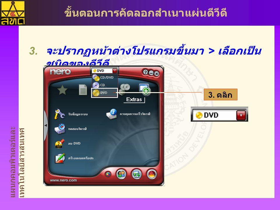 แผนกคอมพิวเตอร์และ เทคโนโลยีสารสนเทศ ขั้นตอนการคัดลอกสำเนาแผ่นดีวีดี  นำเม้าส์ไปวางบนไอคอนคัดลอก และแบ็คอัพ  คลิก ไอคอน คัดลอก DVD 4.