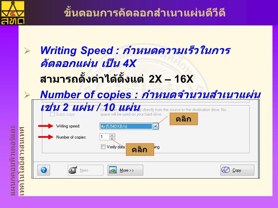 แผนกคอมพิวเตอร์และ เทคโนโลยีสารสนเทศ ขั้นตอนการคัดลอกสำเนาแผ่นดีวีดี  Writing Speed : กำหนดความเร็วในการ คัดลอกแผ่น เป็น 4X สามารถตั้งค่าได้ตั้งแต่ 2