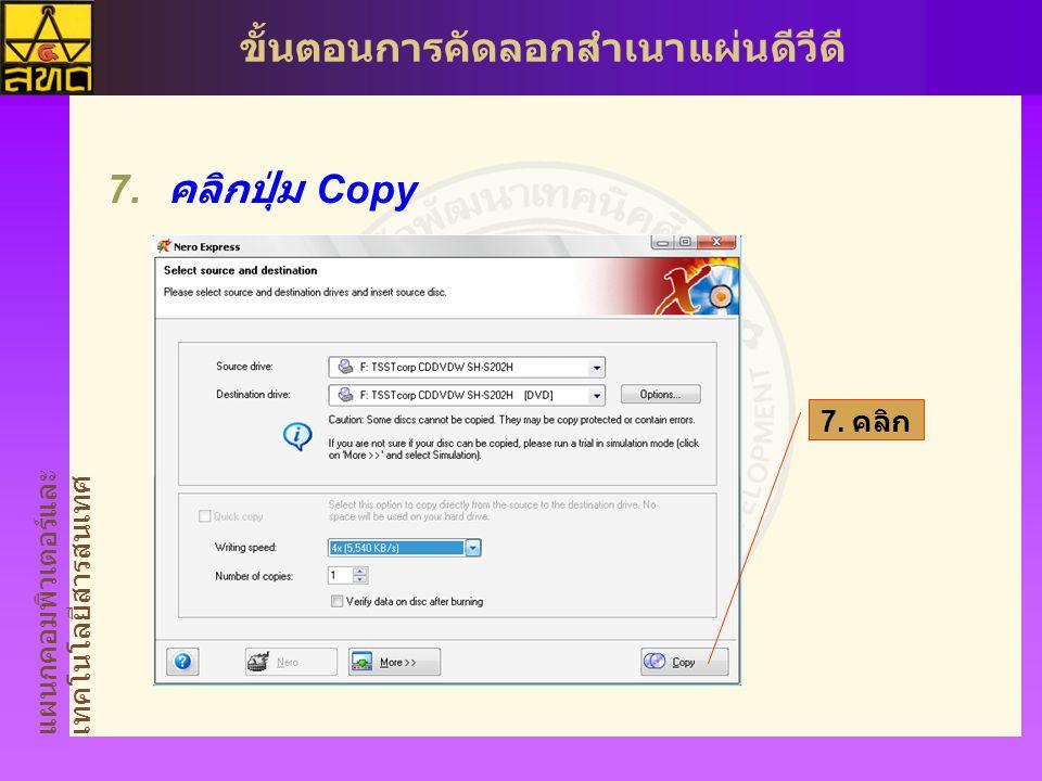 แผนกคอมพิวเตอร์และ เทคโนโลยีสารสนเทศ ขั้นตอนการคัดลอกสำเนาแผ่นดีวีดี  คลิกปุ่ม Copy 7. คลิก