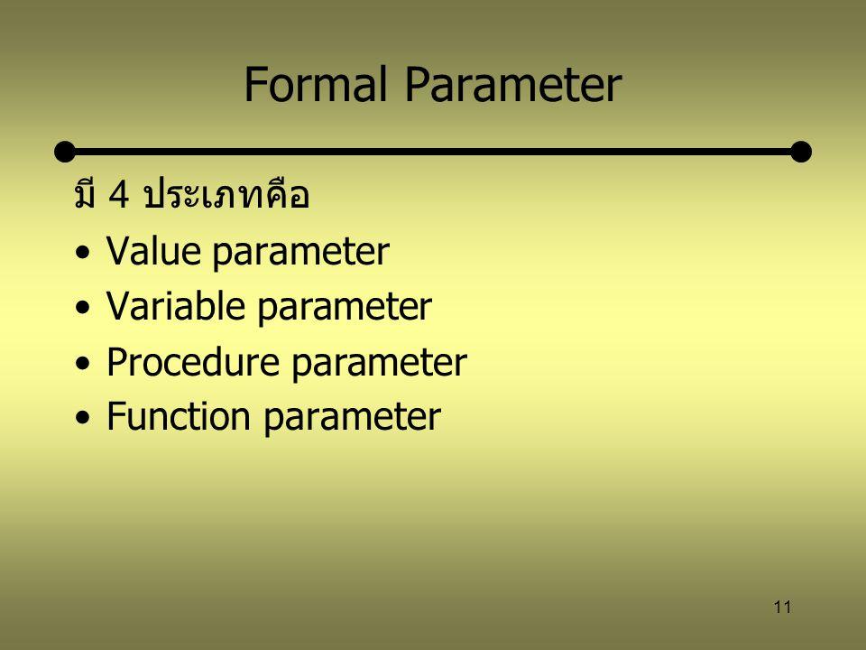 11 Formal Parameter มี 4 ประเภทคือ Value parameter Variable parameter Procedure parameter Function parameter