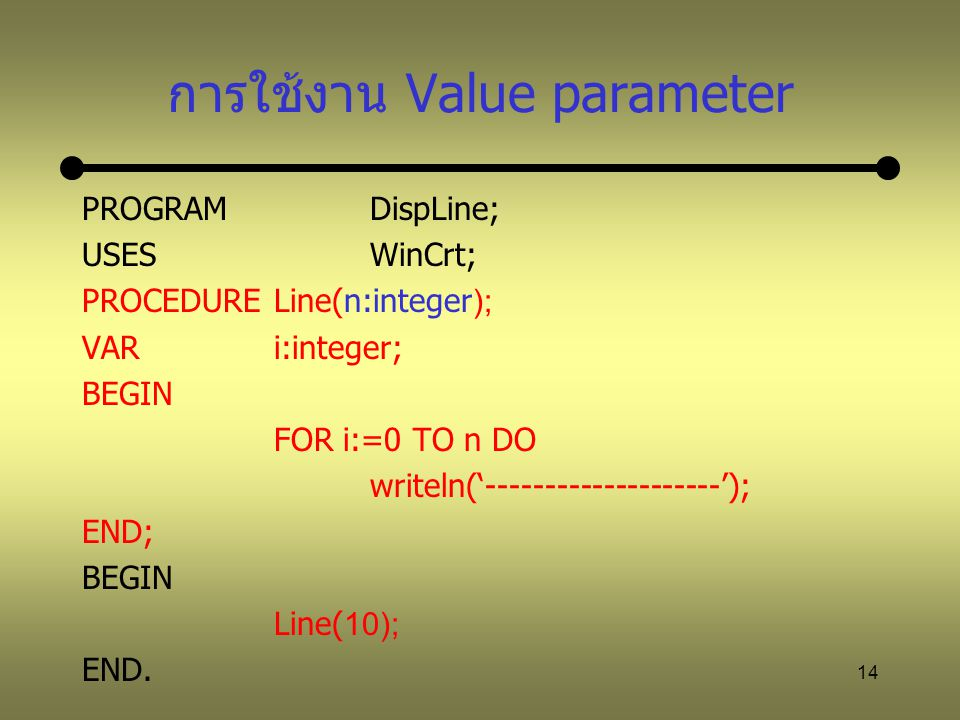 14 การใช้งาน Value parameter PROGRAM DispLine; USESWinCrt; PROCEDURELine(n:integer); VARi:integer; BEGIN FOR i:=0 TO n DO writeln('--------------------'); END; BEGIN Line(10); END.