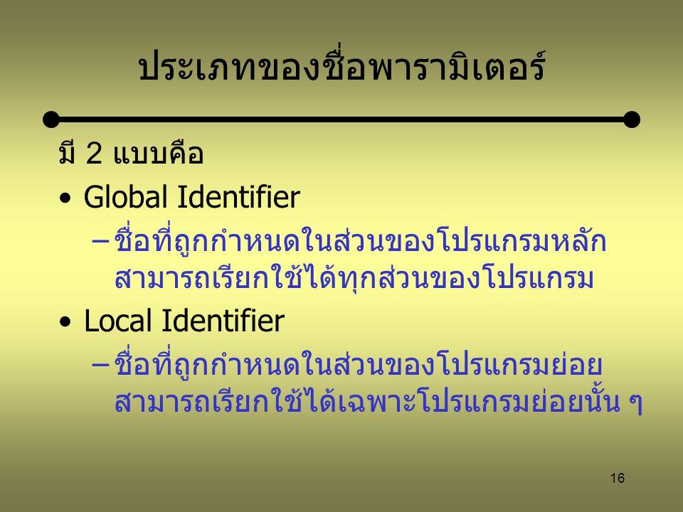 16 ประเภทของชื่อพารามิเตอร์ มี 2 แบบคือ Global Identifier –ชื่อที่ถูกกำหนดในส่วนของโปรแกรมหลัก สามารถเรียกใช้ได้ทุกส่วนของโปรแกรม Local Identifier –ชื