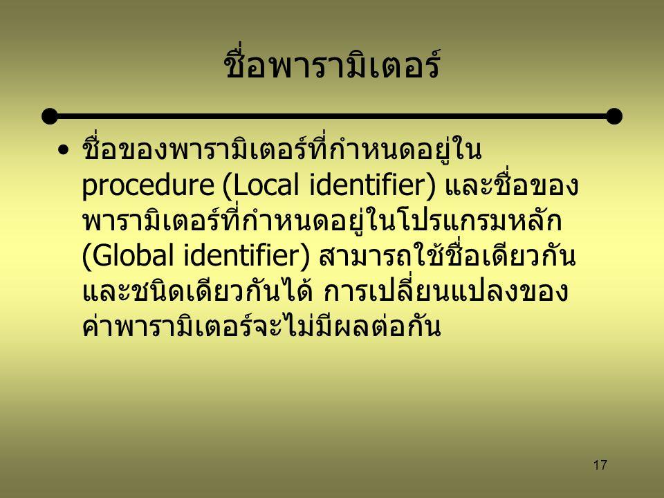 17 ชื่อพารามิเตอร์ ชื่อของพารามิเตอร์ที่กำหนดอยู่ใน procedure (Local identifier) และชื่อของ พารามิเตอร์ที่กำหนดอยู่ในโปรแกรมหลัก (Global identifier) ส
