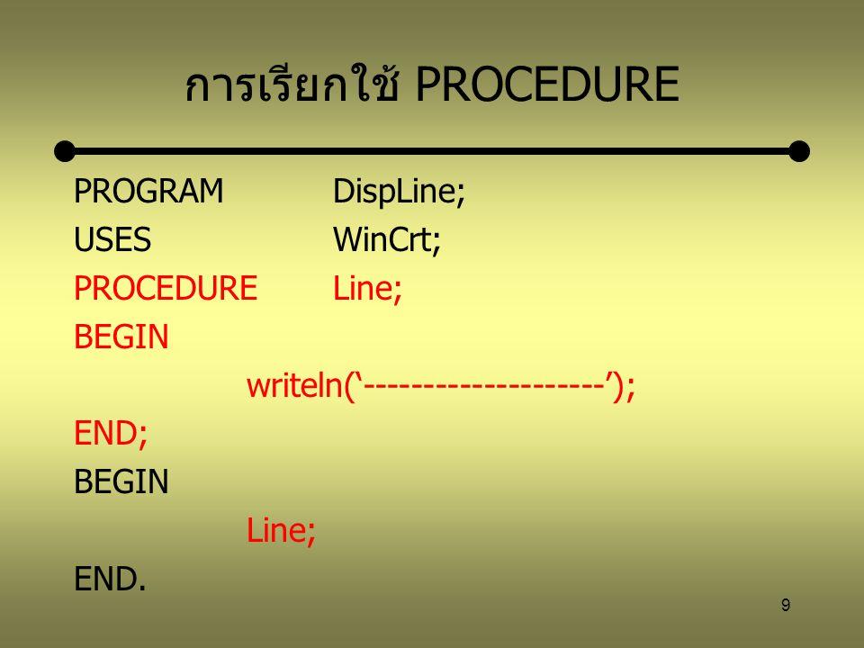 10 ส่วนหัวของ PROCEDURE มี 2 แบบคือ PROCEDUREชื่อ; PROCEDUREชื่อ(พารามิเตอร์); พารามิเตอร์ คือ ชื่อของตัวแปรชนิดต่าง ๆ เรียกว่า Formal parameter