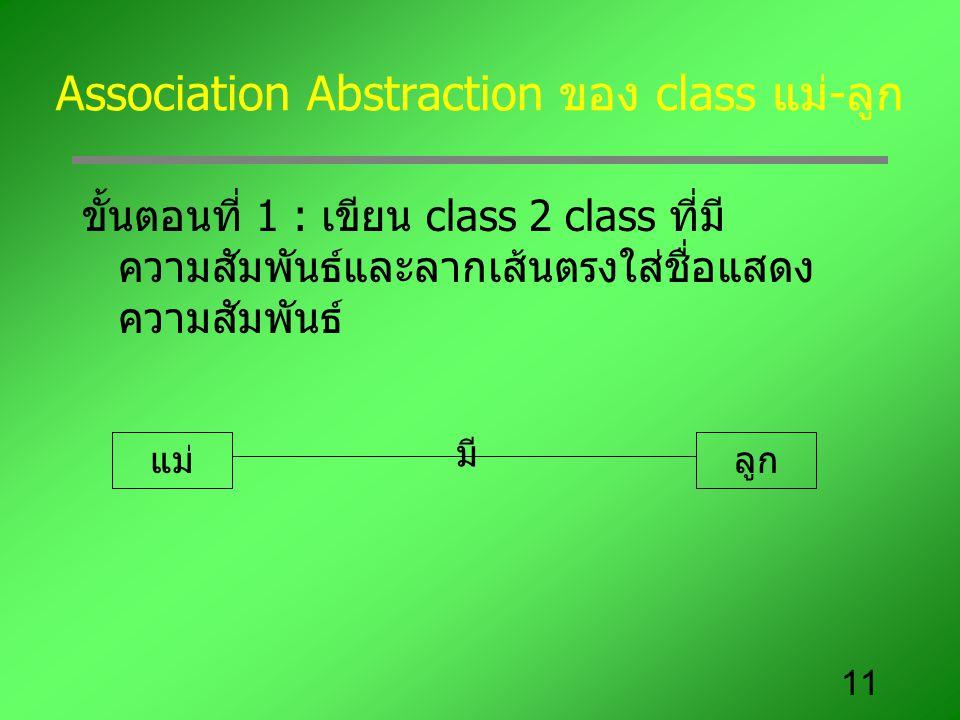 11 Association Abstraction ของ class แม่-ลูก ขั้นตอนที่ 1 : เขียน class 2 class ที่มี ความสัมพันธ์และลากเส้นตรงใส่ชื่อแสดง ความสัมพันธ์ แม่ลูก มี