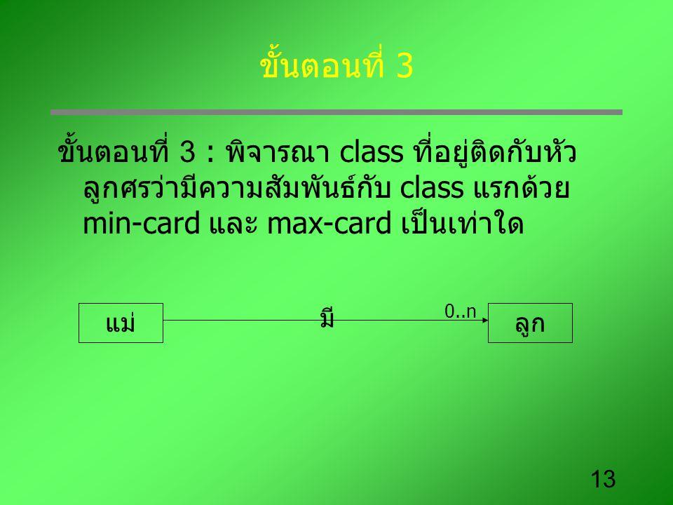 13 ขั้นตอนที่ 3 ขั้นตอนที่ 3 : พิจารณา class ที่อยู่ติดกับหัว ลูกศรว่ามีความสัมพันธ์กับ class แรกด้วย min-card และ max-card เป็นเท่าใด แม่ลูก มี 0..n