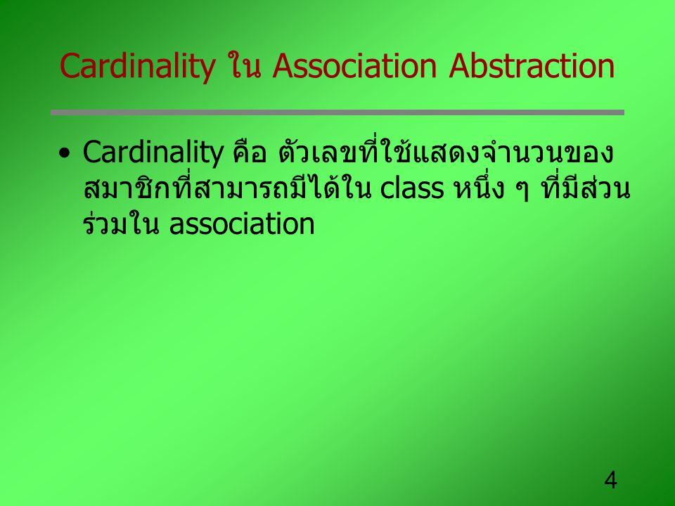 4 Cardinality ใน Association Abstraction Cardinality คือ ตัวเลขที่ใช้แสดงจำนวนของ สมาชิกที่สามารถมีได้ใน class หนึ่ง ๆ ที่มีส่วน ร่วมใน association