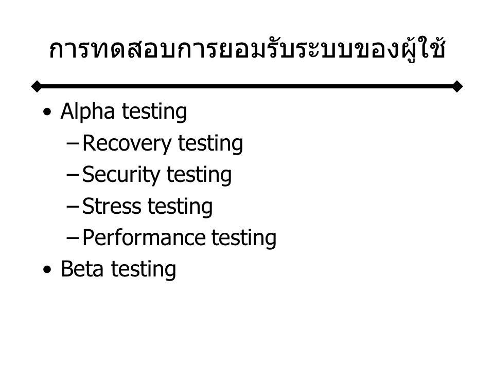 การทดสอบการยอมรับระบบของผู้ใช้ Alpha testing –Recovery testing –Security testing –Stress testing –Performance testing Beta testing