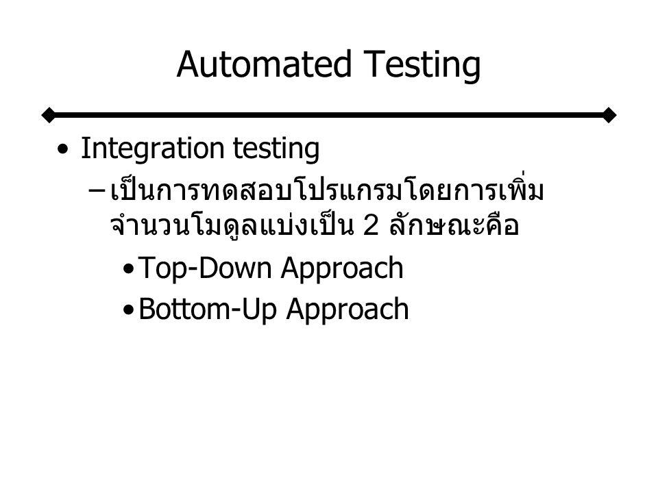 Automated Testing Stub testing –คือ กลุ่มคำสั่งสั้น ๆ ที่เขียนขึ้นมาเพื่อเป็น โมดูลตัวแทนในการทดสอบโปรแกรม System testing –เป็นการทดสอบโปรแกรมทุกโปรแกรม ร่วมกันว่าได้ผลลัพธ์ที่ถูกต้องหรือไม่