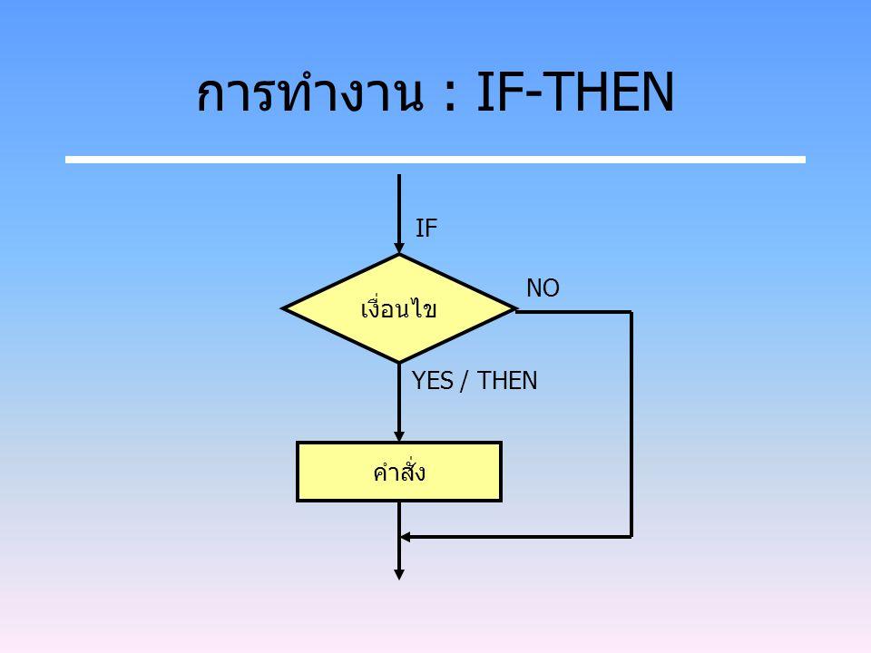 การทำงาน : IF-THEN เงื่อนไข คำสั่ง IF YES / THEN NO