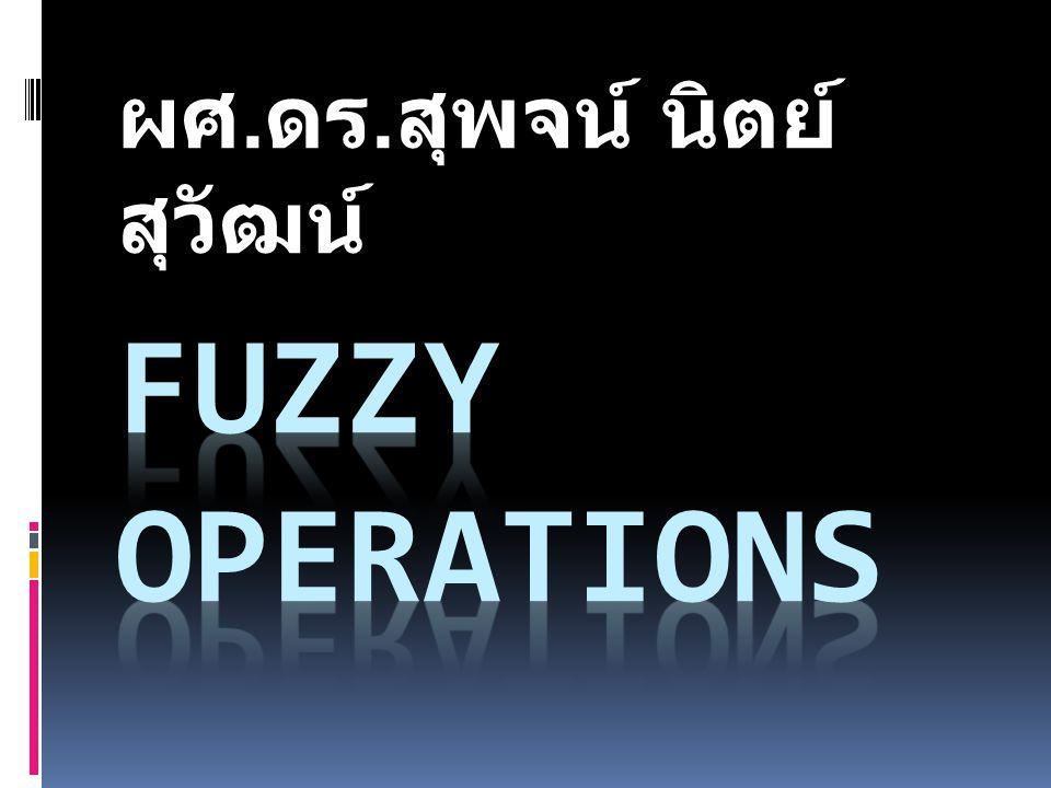 Various fuzzy set operations Example: Let X = { 1,2,3,4,5,6,7} A = { (3, 0.7), (5, 1), (6, 0.8) } B = {(3, 0.9), (4, 1), (6, 0.6) } A  B = { (3, 0.7), (6, 0.6) } A  B = { (3, 0.9), (4, 1), (5, 1), (6, 0.8) } A' = { (1, 1), (2, 1), (3, 0.3), (4, 1), (6, 0.2), (7, 1) }