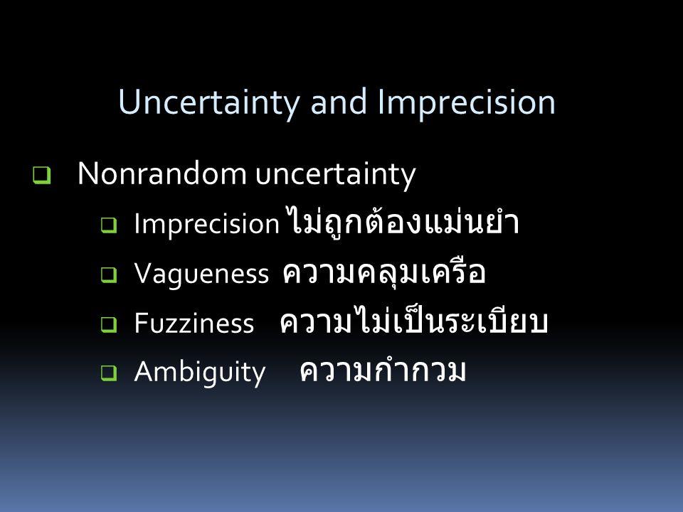  Nonrandom uncertainty  Imprecision ไม่ถูกต้องแม่นยำ  Vagueness ความคลุมเครือ  Fuzziness ความไม่เป็นระเบียบ  Ambiguity ความกำกวม Uncertainty and