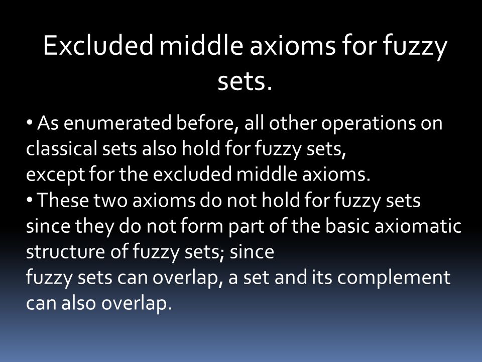 Excluded middle axioms for fuzzy sets.