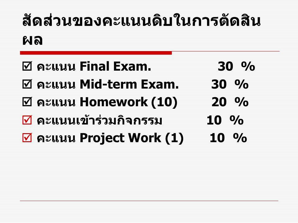 สัดส่วนของคะแนนดิบในการตัดสิน ผล  คะแนน Final Exam. 30 %  คะแนน Mid-term Exam. 30 %  คะแนน Homework (10) 20 %  คะแนนเข้าร่วมกิจกรรม 10 %  คะแนน P