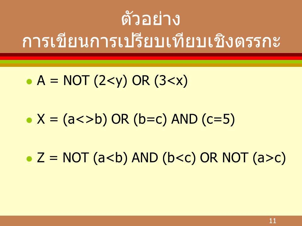 11 ตัวอย่าง การเขียนการเปรียบเทียบเชิงตรรกะ l A = NOT (2<y) OR (3<x) l X = (a<>b) OR (b=c) AND (c=5) l Z = NOT (a c)
