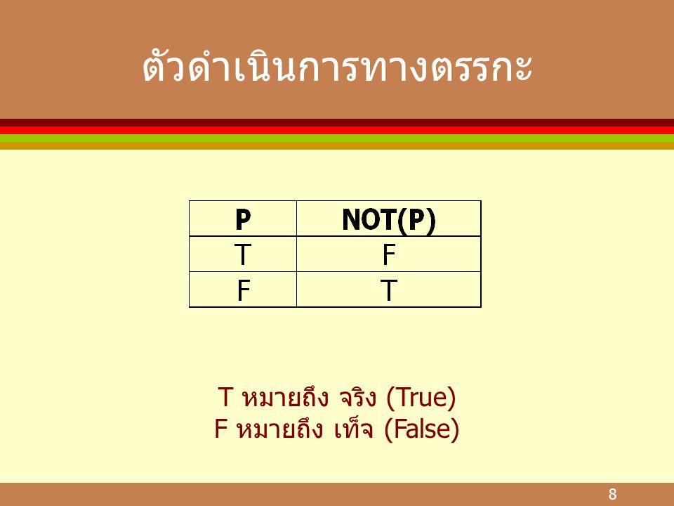 8 ตัวดำเนินการทางตรรกะ T หมายถึง จริง (True) F หมายถึง เท็จ (False)