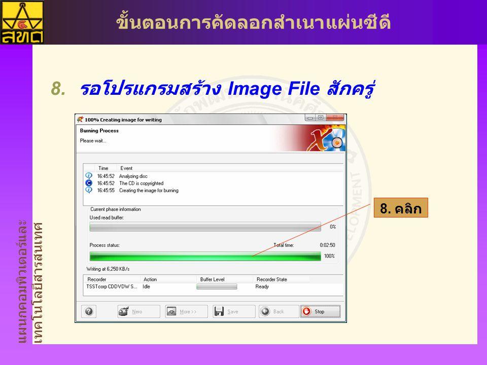 แผนกคอมพิวเตอร์และ เทคโนโลยีสารสนเทศ ขั้นตอนการคัดลอกสำเนาแผ่นซีดี  รอโปรแกรมสร้าง Image File สักครู่ 8. คลิก
