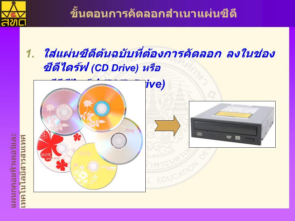 แผนกคอมพิวเตอร์และ เทคโนโลยีสารสนเทศ ขั้นตอนการคัดลอกสำเนาแผ่นซีดี  ใส่แผ่นซีดีต้นฉบับที่ต้องการคัดลอก ลงในช่อง ซีดีไดร์ฟ (CD Drive) หรือ ดีวีดีไดร์