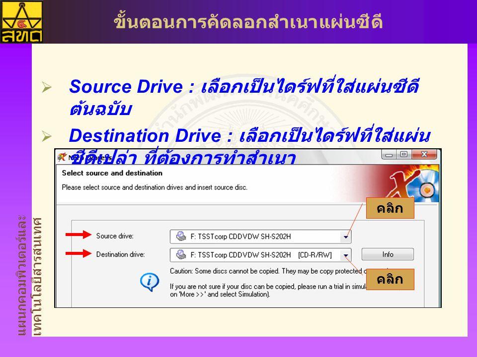 แผนกคอมพิวเตอร์และ เทคโนโลยีสารสนเทศ ขั้นตอนการคัดลอกสำเนาแผ่นซีดี  Source Drive : เลือกเป็นไดร์ฟที่ใส่แผ่นซีดี ต้นฉบับ  Destination Drive : เลือกเป