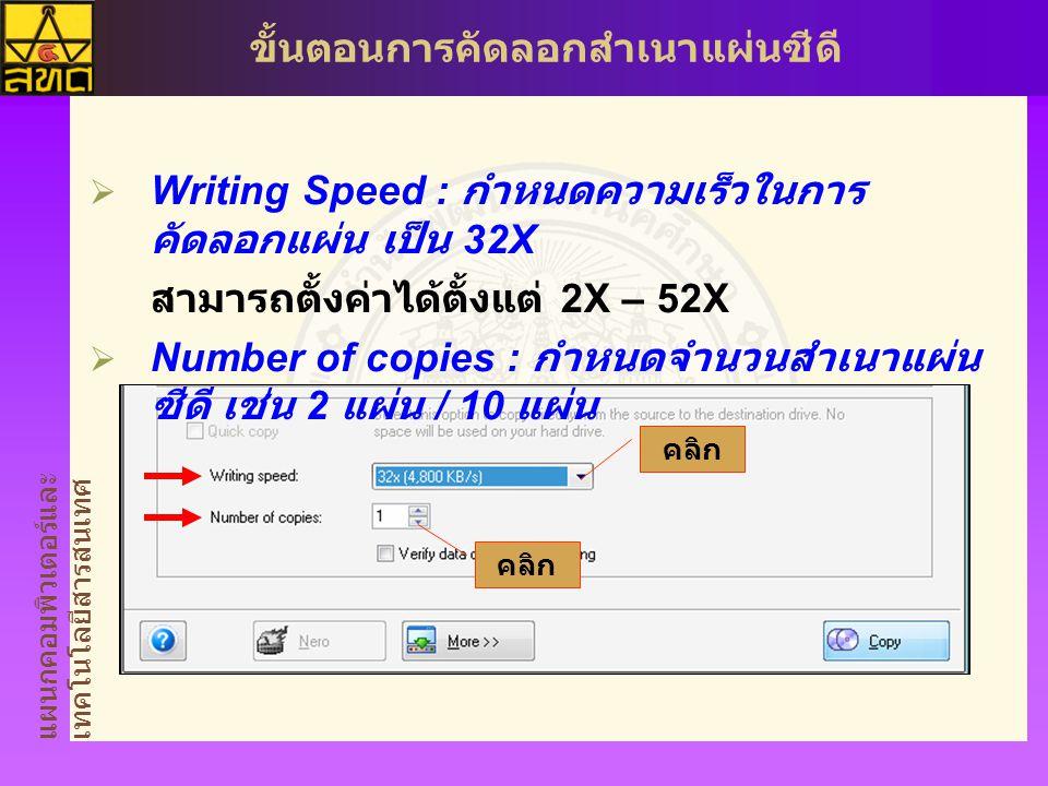 แผนกคอมพิวเตอร์และ เทคโนโลยีสารสนเทศ ขั้นตอนการคัดลอกสำเนาแผ่นซีดี  Writing Speed : กำหนดความเร็วในการ คัดลอกแผ่น เป็น 32X สามารถตั้งค่าได้ตั้งแต่ 2X