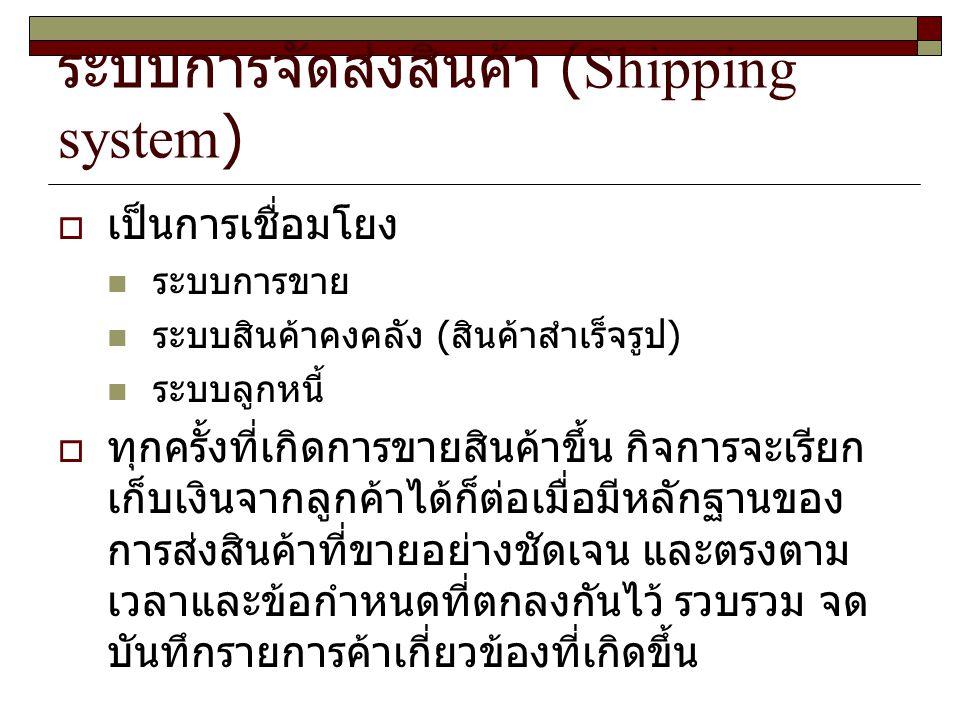 ระบบการจัดส่งสินค้า (Shipping system)  เป็นการเชื่อมโยง ระบบการขาย ระบบสินค้าคงคลัง ( สินค้าสำเร็จรูป ) ระบบลูกหนี้  ทุกครั้งที่เกิดการขายสินค้าขึ้น