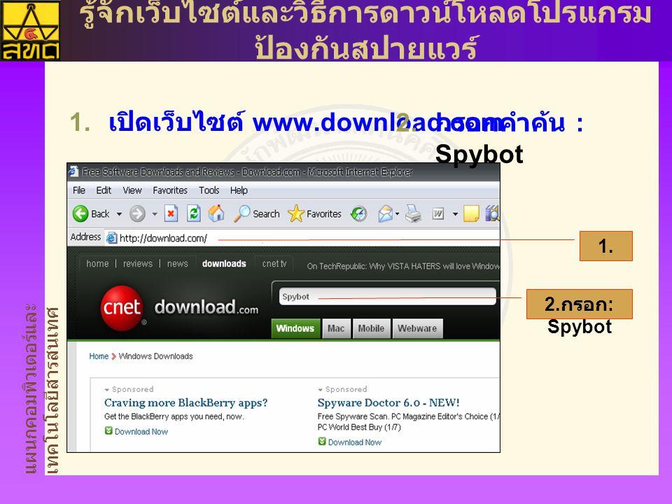 แผนกคอมพิวเตอร์และ เทคโนโลยีสารสนเทศ รู้จักเว็บไซต์และวิธีการดาวน์โหลดโปรแกรม ป้องกันสปายแวร์  เปิดเว็บไซต์ www.download.com 1.