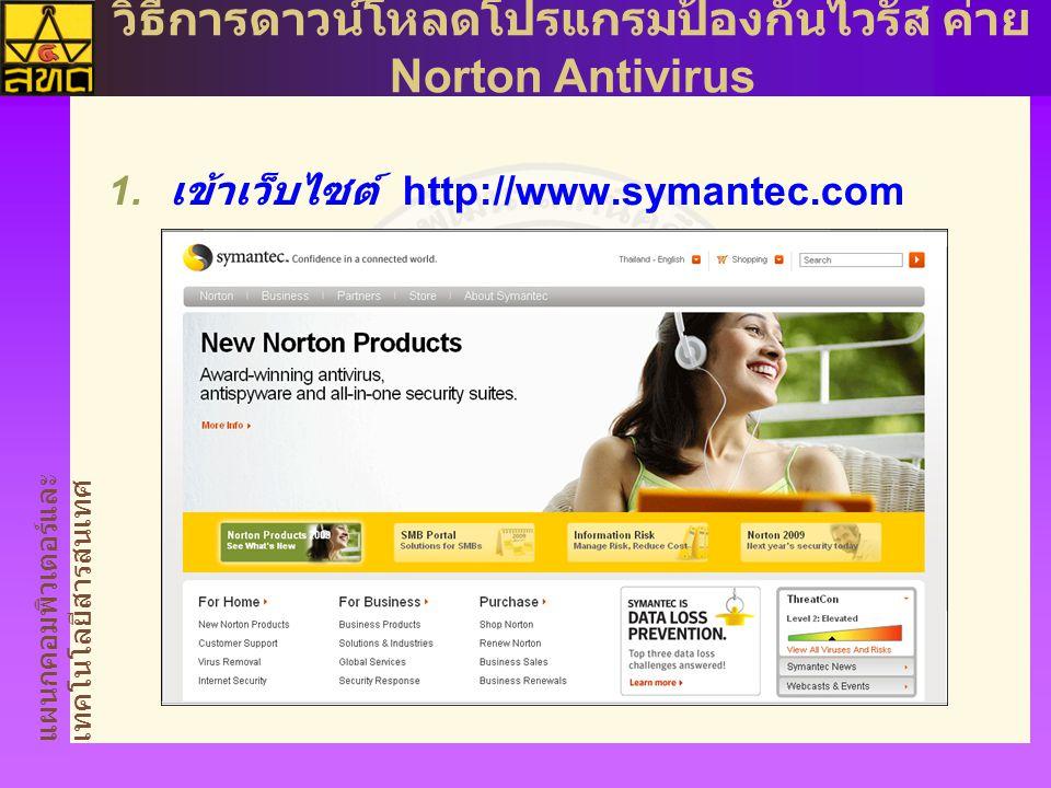 แผนกคอมพิวเตอร์และ เทคโนโลยีสารสนเทศ วิธีการดาวน์โหลดโปรแกรมป้องกันไวรัส ค่าย Norton Antivirus  เข้าเว็บไซต์ http://www.symantec.com