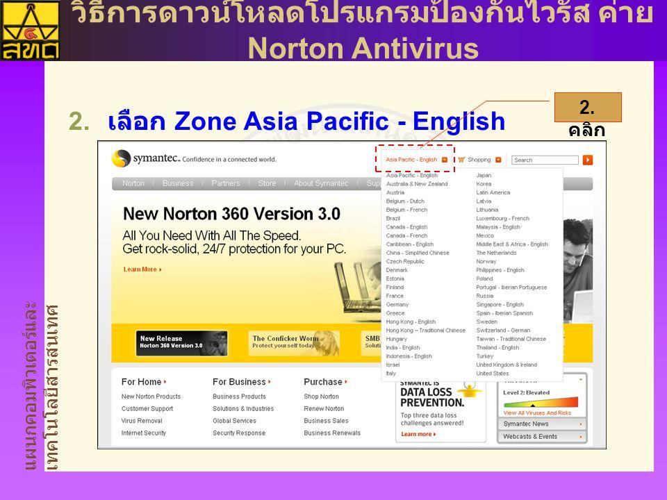 แผนกคอมพิวเตอร์และ เทคโนโลยีสารสนเทศ วิธีการดาวน์โหลดโปรแกรมป้องกันไวรัส ค่าย Norton Antivirus  เลือก Zone Asia Pacific - English 2.