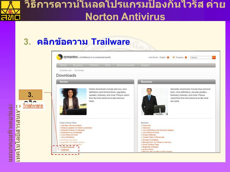 แผนกคอมพิวเตอร์และ เทคโนโลยีสารสนเทศ วิธีการดาวน์โหลดโปรแกรมป้องกันไวรัส ค่าย Norton Antivirus  คลิกข้อความ Trailware 3.
