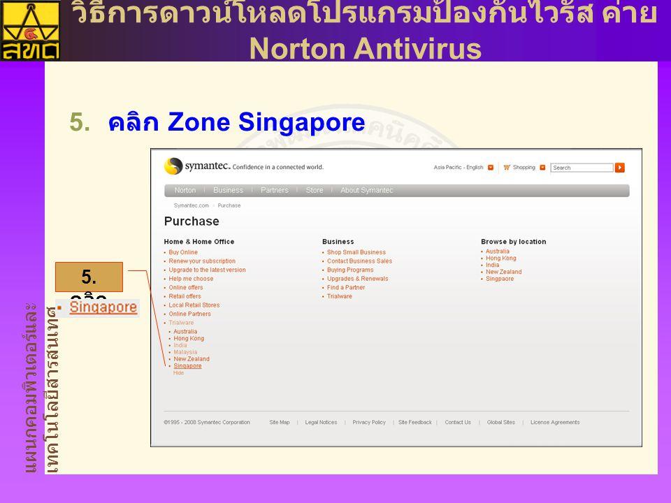 แผนกคอมพิวเตอร์และ เทคโนโลยีสารสนเทศ วิธีการดาวน์โหลดโปรแกรมป้องกันไวรัส ค่าย Norton Antivirus  คลิก Zone Singapore 5.