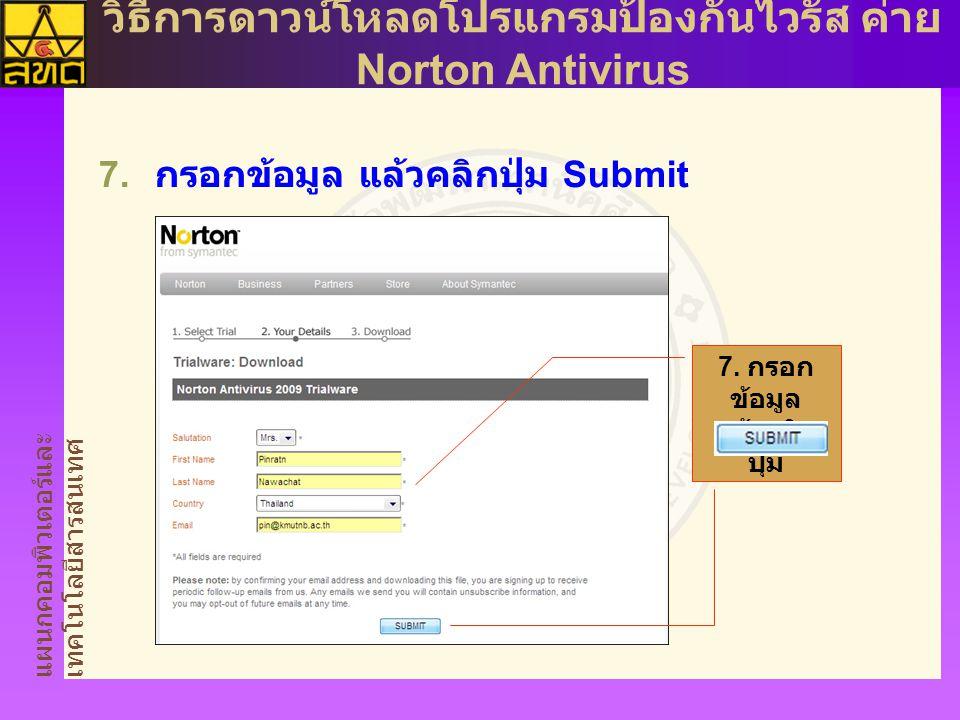 แผนกคอมพิวเตอร์และ เทคโนโลยีสารสนเทศ วิธีการดาวน์โหลดโปรแกรมป้องกันไวรัส ค่าย Norton Antivirus  กรอกข้อมูล แล้วคลิกปุ่ม Submit 7.
