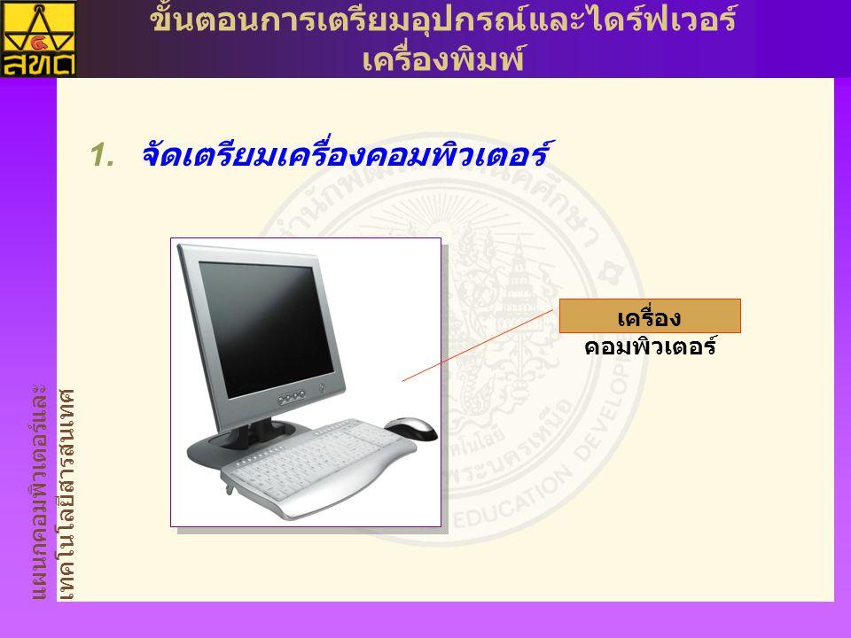 แผนกคอมพิวเตอร์และ เทคโนโลยีสารสนเทศ ขั้นตอนการเตรียมอุปกรณ์และไดร์ฟเวอร์ เครื่องพิมพ์  จัดเตรียมเครื่องคอมพิวเตอร์ เครื่อง คอมพิวเตอร์