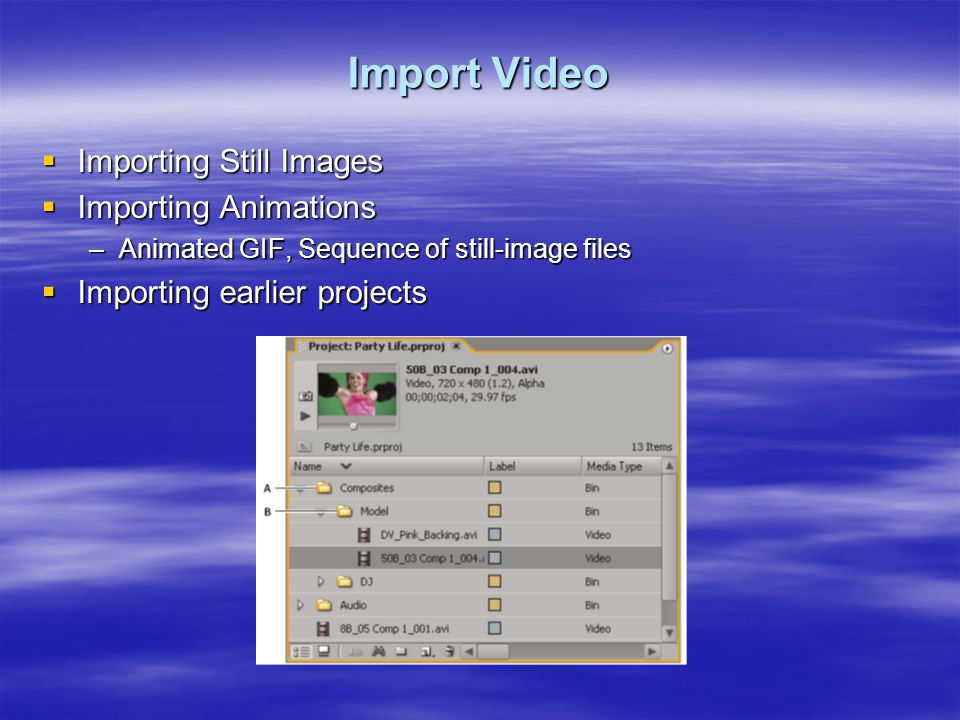 Import Video  Importing Still Images  Importing Animations –Animated GIF, Sequence of still-image files  Importing earlier projects