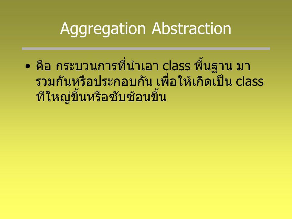 Generalization Abstraction คือ กระบวนการในการนำ class ที่มีลักษณะ เหมือนหรือคล้ายคลึงกัน หรือมีคุณสมบัติ อย่างใดอย่างหนึ่งร่วมกันมาจัดหมวดหมู่ไว้ เป็น class เดียวกัน กระบวนการย้อนกลับของ Generalization คือ Specialization ซึ่ง Specialization คือ การตอบคำถามว่าใน class หนึ่ง ๆ นั้น สามารถจำแนกเป็น class อะไรได้บ้าง