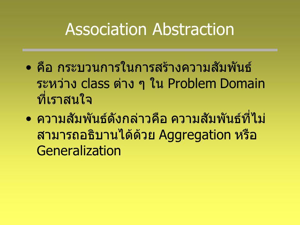 Association Abstraction คือ กระบวนการในการสร้างความสัมพันธ์ ระหว่าง class ต่าง ๆ ใน Problem Domain ที่เราสนใจ ความสัมพันธ์ดังกล่าวคือ ความสัมพันธ์ที่ไม่ สามารถอธิบานได้ด้วย Aggregation หรือ Generalization