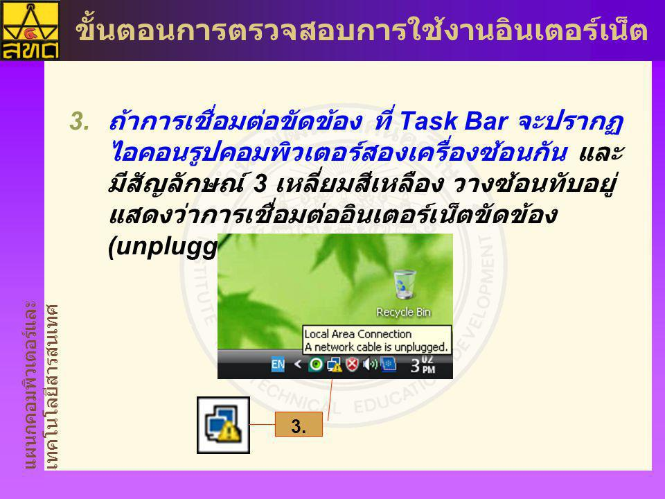 แผนกคอมพิวเตอร์และ เทคโนโลยีสารสนเทศ ขั้นตอนการตรวจสอบการใช้งานอินเตอร์เน็ต  ถ้าการเชื่อมต่อขัดข้อง ที่ Task Bar จะปรากฏ ไอคอนรูปคอมพิวเตอร์สองเครื่องซ้อนกัน และ มีสัญลักษณ์ 3 เหลี่ยมสีเหลือง วางซ้อนทับอยู่ แสดงว่าการเชื่อมต่ออินเตอร์เน็ตขัดข้อง (unplugged) 3.