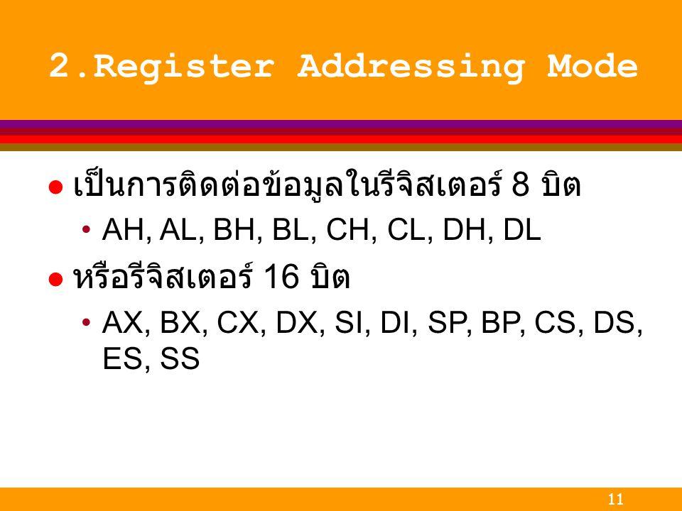 11 2.Register Addressing Mode l เป็นการติดต่อข้อมูลในรีจิสเตอร์ 8 บิต AH, AL, BH, BL, CH, CL, DH, DL l หรือรีจิสเตอร์ 16 บิต AX, BX, CX, DX, SI, DI, S