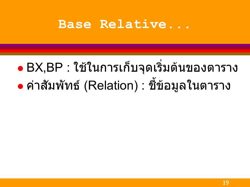 19 Base Relative... l BX,BP : ใช้ในการเก็บจุดเริ่มต้นของตาราง l ค่าสัมพัทธ์ (Relation) : ชี้ข้อมูลในตาราง