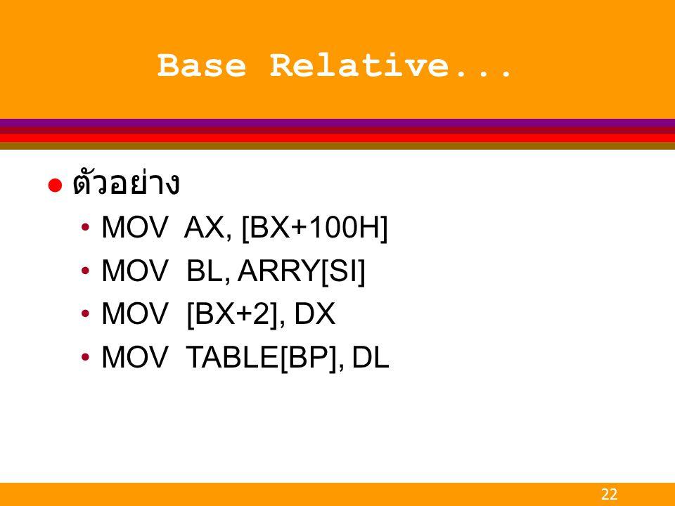 22 Base Relative... l ตัวอย่าง MOV AX, [BX+100H] MOV BL, ARRY[SI] MOV [BX+2], DX MOV TABLE[BP], DL