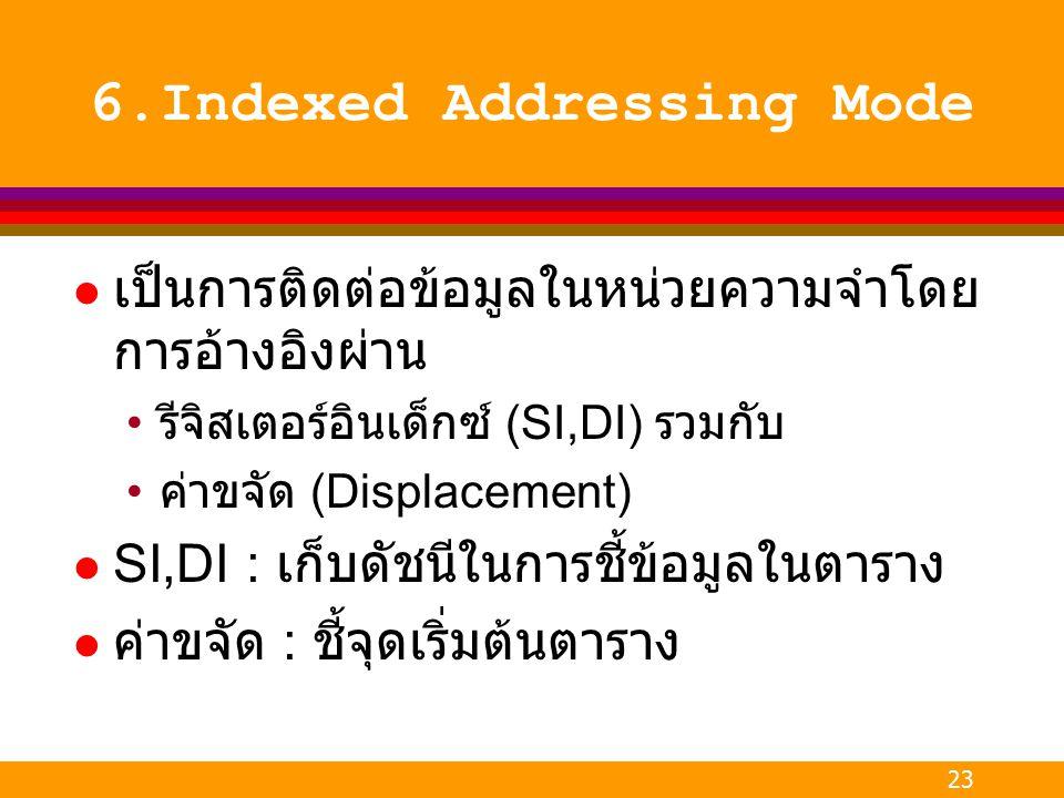 23 6.Indexed Addressing Mode l เป็นการติดต่อข้อมูลในหน่วยความจำโดย การอ้างอิงผ่าน รีจิสเตอร์อินเด็กซ์ (SI,DI) รวมกับ ค่าขจัด (Displacement) l SI,DI :