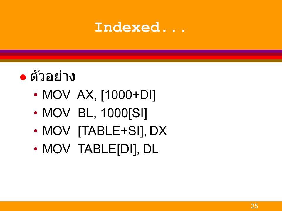 25 Indexed... l ตัวอย่าง MOV AX, [1000+DI] MOV BL, 1000[SI] MOV [TABLE+SI], DX MOV TABLE[DI], DL