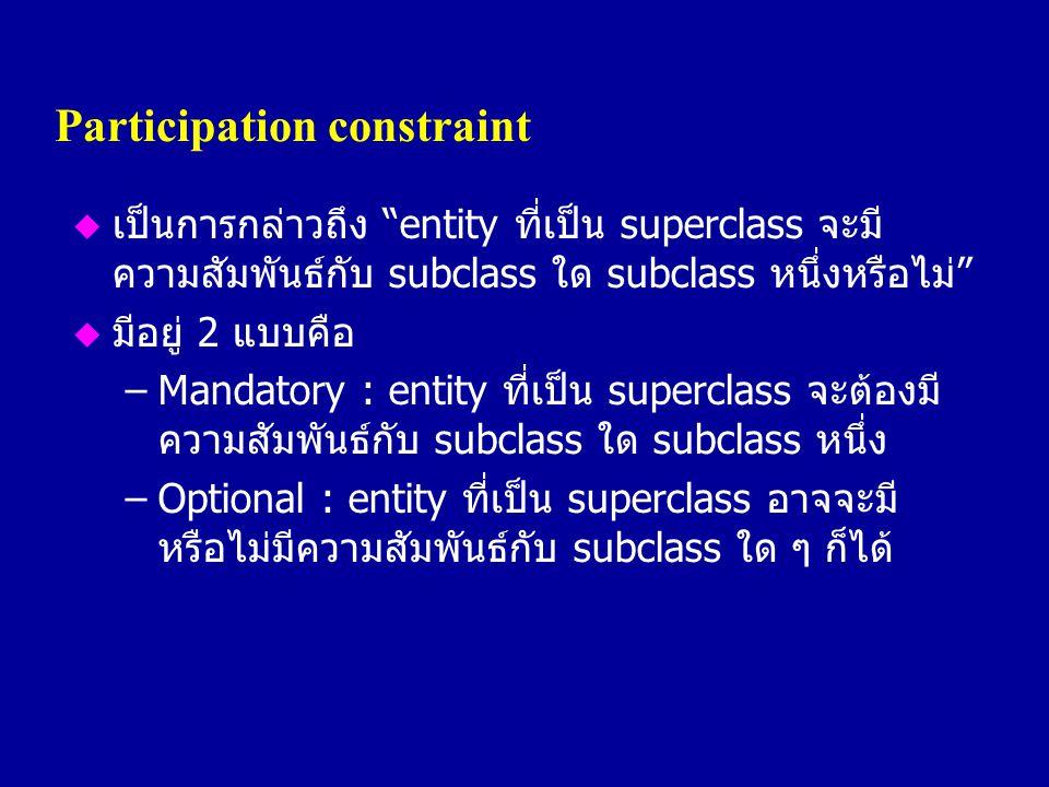 "Participation constraint u เป็นการกล่าวถึง ""entity ที่เป็น superclass จะมี ความสัมพันธ์กับ subclass ใด subclass หนึ่งหรือไม่"" u มีอยู่ 2 แบบคือ –Manda"