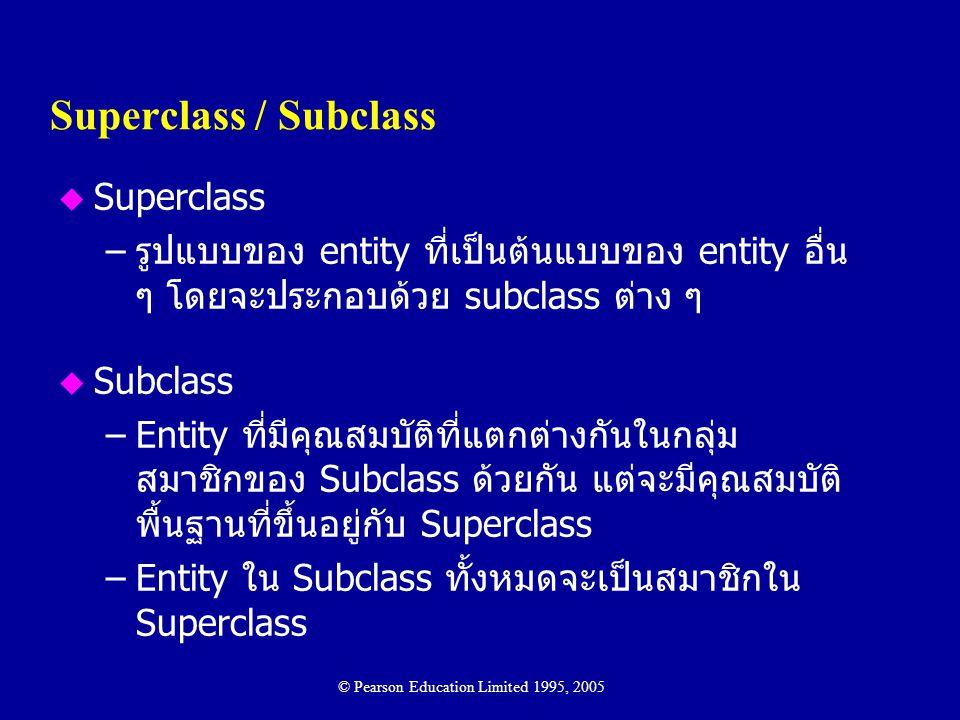 Superclass / Subclass u Superclass –รูปแบบของ entity ที่เป็นต้นแบบของ entity อื่น ๆ โดยจะประกอบด้วย subclass ต่าง ๆ u Subclass –Entity ที่มีคุณสมบัติท