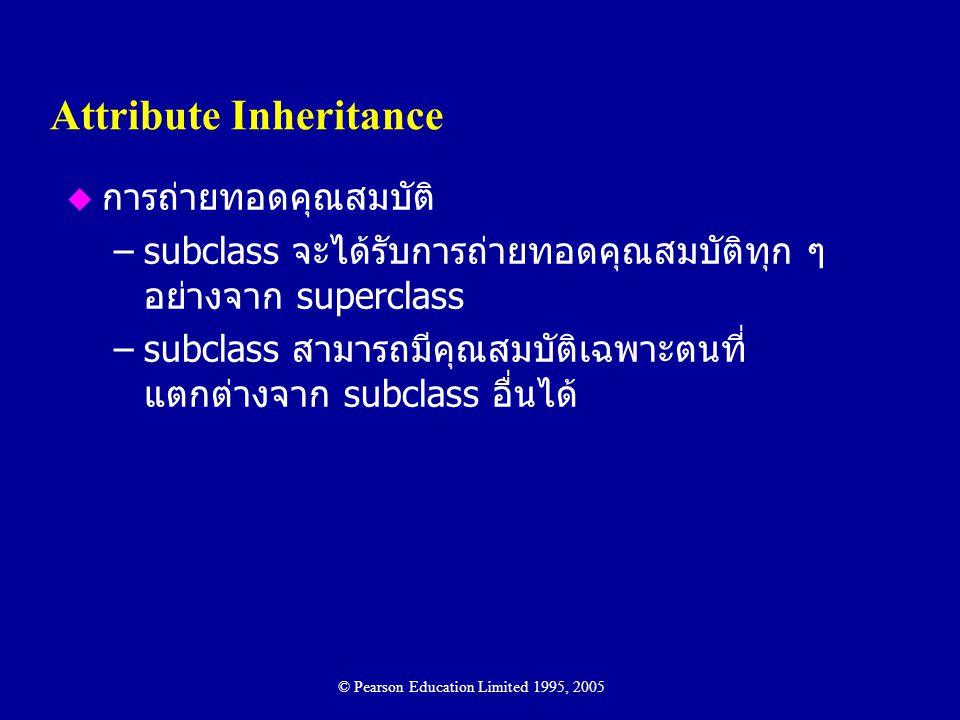 Attribute Inheritance u การถ่ายทอดคุณสมบัติ –subclass จะได้รับการถ่ายทอดคุณสมบัติทุก ๆ อย่างจาก superclass –subclass สามารถมีคุณสมบัติเฉพาะตนที่ แตกต่